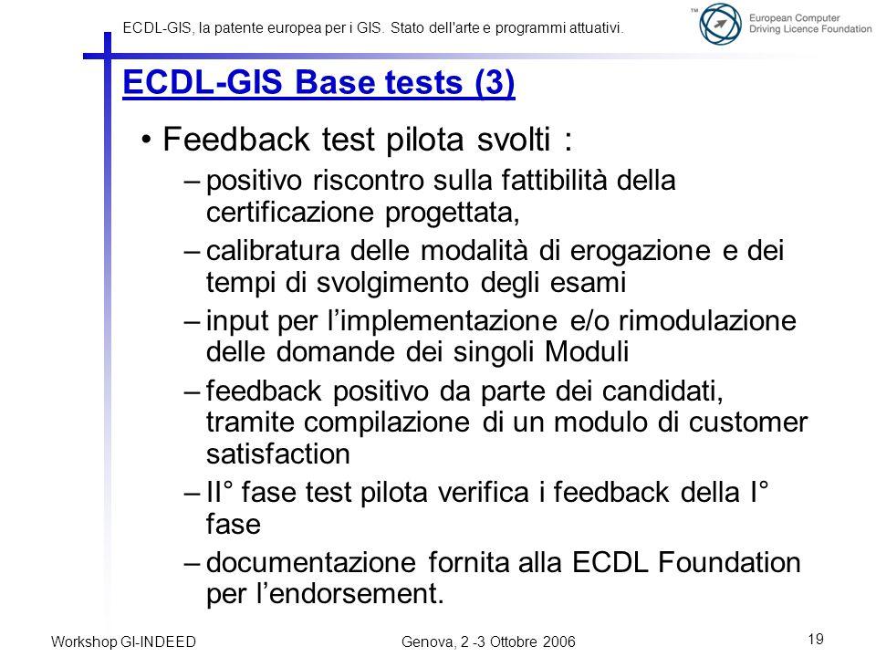 ECDL-GIS, la patente europea per i GIS.Stato dell arte e programmi attuativi.