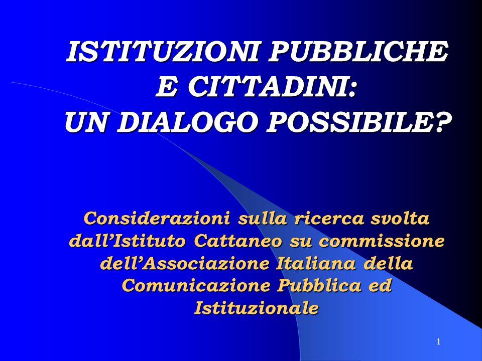 1 ISTITUZIONI PUBBLICHE E CITTADINI: UN DIALOGO POSSIBILE.