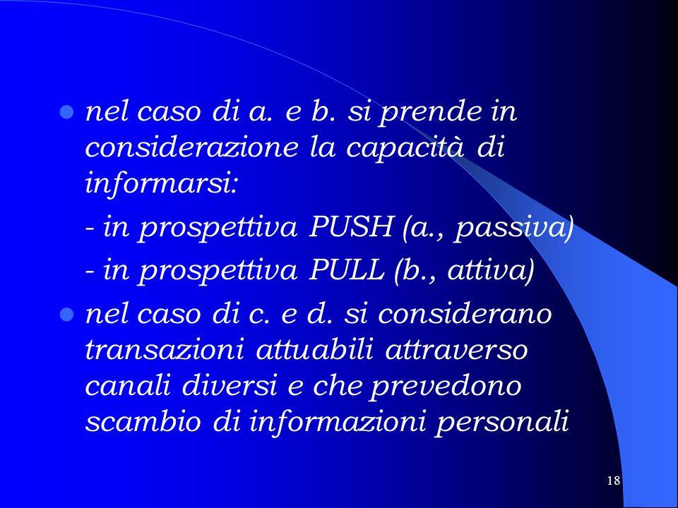 17 Le questioni fondamentali Rilevazione di quali canali i cittadini preferiscono usare verso la PA per: a.