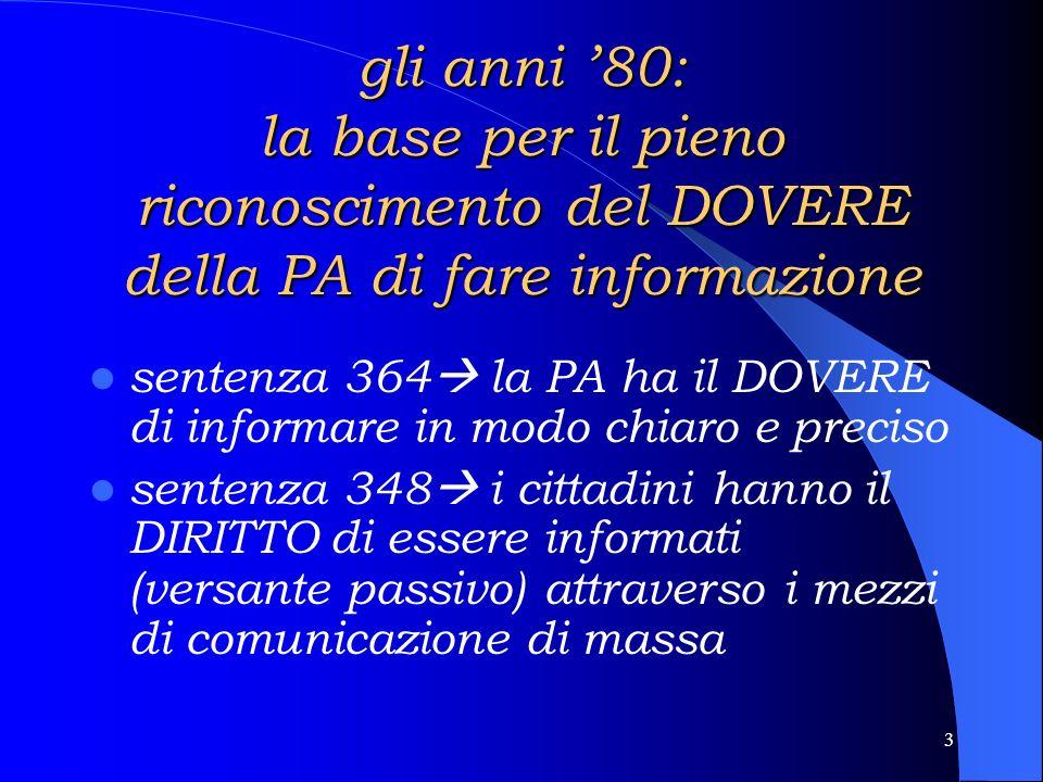 2 A) LA COMUNICAZIONE PUBBLICA IN ITALIA: PREMESSE PER LA RIFLESSIONE negli anni 80 e 90 assistiamo allo SVILUPPO e alla DEFINIZIONE dei rapporti fra cittadini ed Istituzioni Pubbliche, divisibile in 2 fasi corrispondenti ai due decenni.