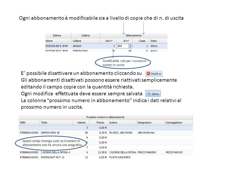 La lista della Gestione abbonamenti è esportabile in formato Excel.