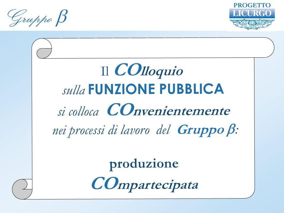 Il CO lloquio sulla FUNZIONE PUBBLICA si colloca CO nvenientemente nei processi di lavoro del Gruppo : produzione CO mpartecipata