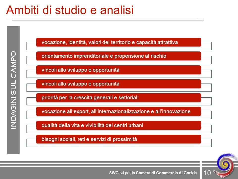 10 SWG srl per la Camera di Commercio di Gorizia Ambiti di studio e analisi INDAGINI SUL CAMPO