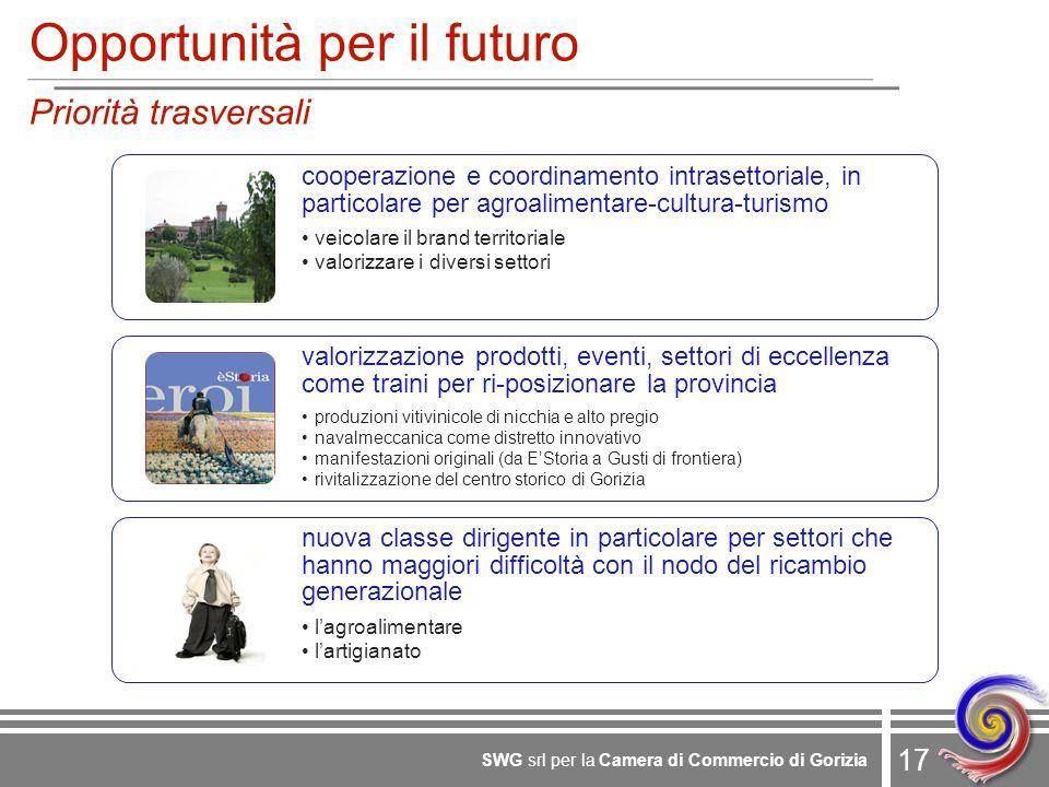 17 SWG srl per la Camera di Commercio di Gorizia Opportunità per il futuro Priorità trasversali