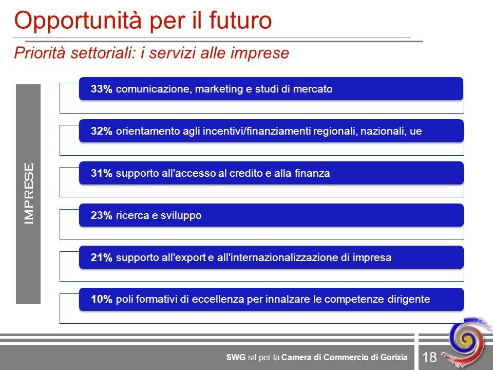 18 SWG srl per la Camera di Commercio di Gorizia Opportunità per il futuro Priorità settoriali: i servizi alle imprese IMPRESE