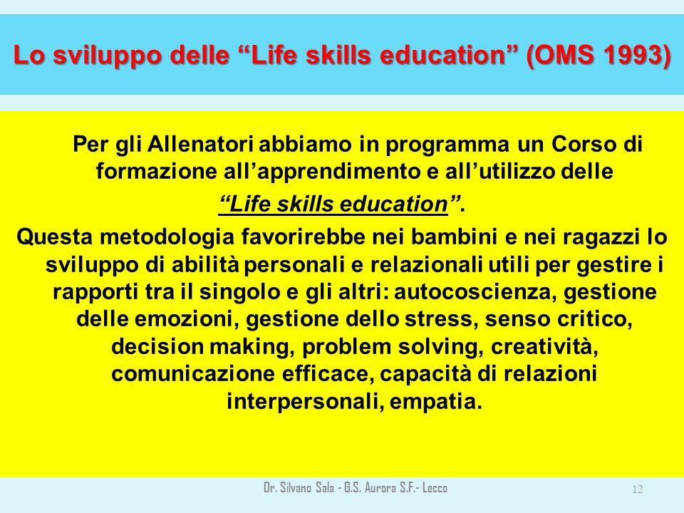 Lo sviluppo delle Life skills education (OMS 1993) Per gli Allenatori abbiamo in programma un Corso di formazione allapprendimento e allutilizzo delle