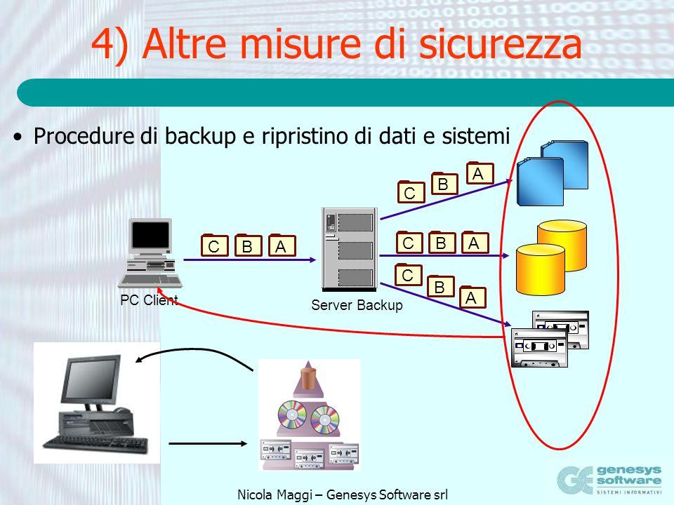 Nicola Maggi – Genesys Software srl 4) Altre misure di sicurezza Procedure di backup e ripristino di dati e sistemi