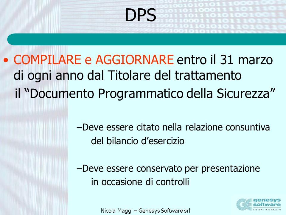 Nicola Maggi – Genesys Software srl DPS COMPILARE e AGGIORNARE entro il 31 marzo di ogni anno dal Titolare del trattamento il Documento Programmatico
