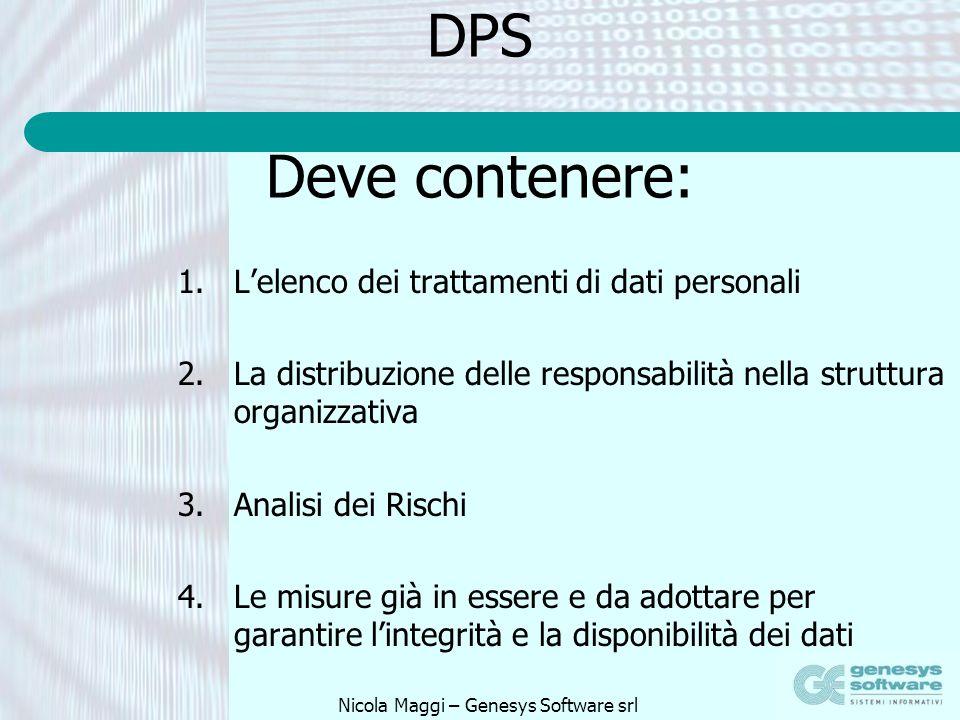 Nicola Maggi – Genesys Software srl DPS Deve contenere: 1.Lelenco dei trattamenti di dati personali 2.La distribuzione delle responsabilità nella stru