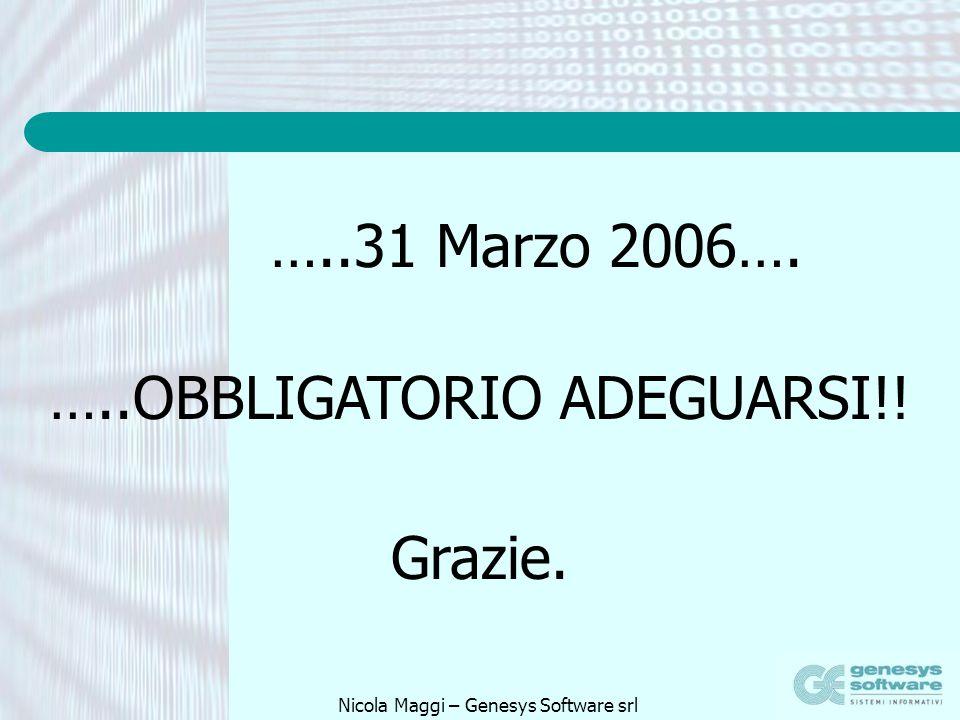 Nicola Maggi – Genesys Software srl …..31 Marzo 2006…. …..OBBLIGATORIO ADEGUARSI!! Grazie.