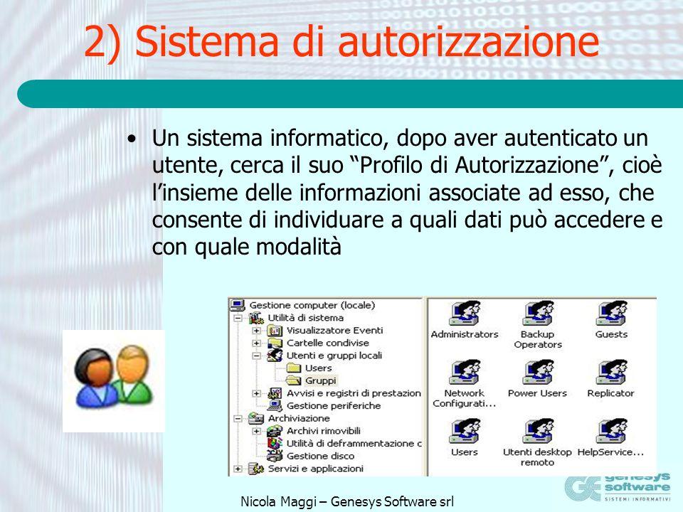 Nicola Maggi – Genesys Software srl 2) Sistema di autorizzazione Un sistema informatico, dopo aver autenticato un utente, cerca il suo Profilo di Auto