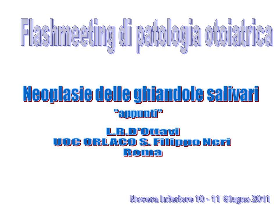 3) TUMORI NON EPITELIALI 4) LINFOMI MALIGNI 5) TUMORI SECONDARI 6) TUMORI NON CLASSIFICATI 7) LESIONI SIMIL TUMORALI N1 un linfonodo < a 3 cm N2a un singolo linfonodo omolaterale > a 3cm < a 6 cm N2b linfonodi omolaterali multipli < a 6 cm N3 linfonodi > a 6 cm STAGE I T1-2 N0 M0 II T3 N0 M0 III T1-2 N1 M0 IV T3-4 N1