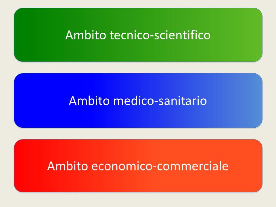 Ambito tecnico-scientifico Ambito medico-sanitario Ambito economico-commerciale