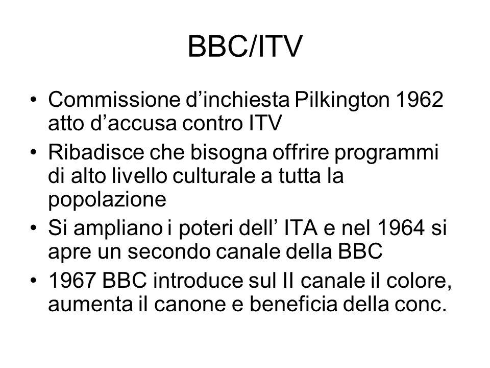 BBC/ITV Commissione dinchiesta Pilkington 1962 atto daccusa contro ITV Ribadisce che bisogna offrire programmi di alto livello culturale a tutta la popolazione Si ampliano i poteri dell ITA e nel 1964 si apre un secondo canale della BBC 1967 BBC introduce sul II canale il colore, aumenta il canone e beneficia della conc.