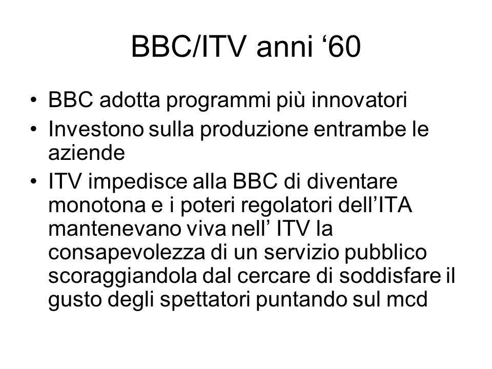 BBC/ITV anni 60 BBC adotta programmi più innovatori Investono sulla produzione entrambe le aziende ITV impedisce alla BBC di diventare monotona e i poteri regolatori dellITA mantenevano viva nell ITV la consapevolezza di un servizio pubblico scoraggiandola dal cercare di soddisfare il gusto degli spettatori puntando sul mcd
