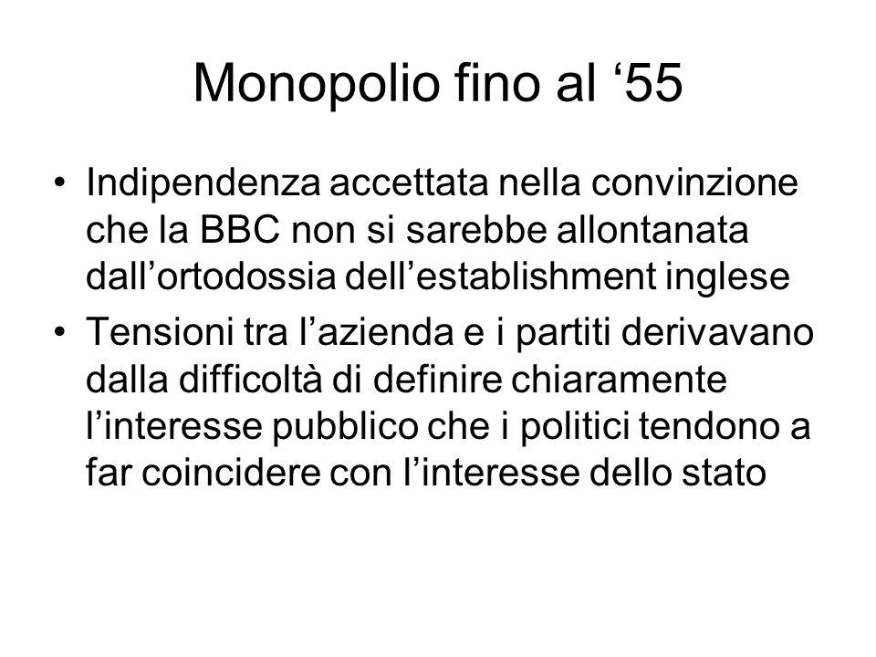 Monopolio fino al 55 Indipendenza accettata nella convinzione che la BBC non si sarebbe allontanata dallortodossia dellestablishment inglese Tensioni tra lazienda e i partiti derivavano dalla difficoltà di definire chiaramente linteresse pubblico che i politici tendono a far coincidere con linteresse dello stato