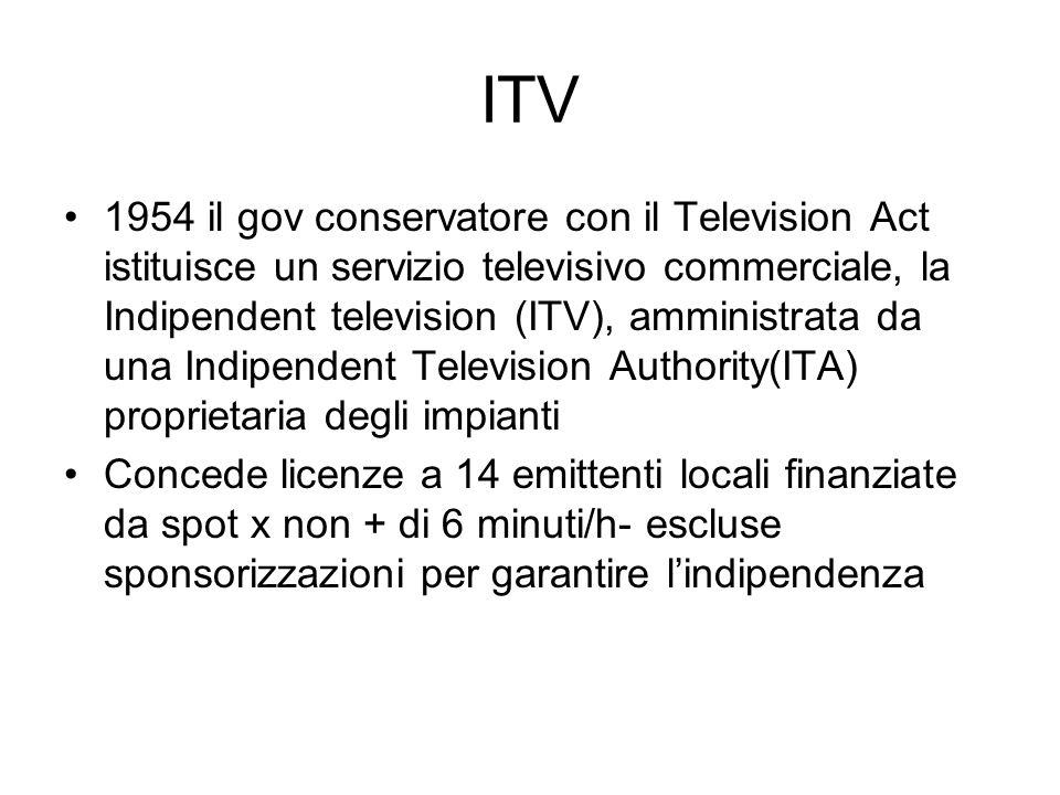 ITV 1954 il gov conservatore con il Television Act istituisce un servizio televisivo commerciale, la Indipendent television (ITV), amministrata da una Indipendent Television Authority(ITA) proprietaria degli impianti Concede licenze a 14 emittenti locali finanziate da spot x non + di 6 minuti/h- escluse sponsorizzazioni per garantire lindipendenza