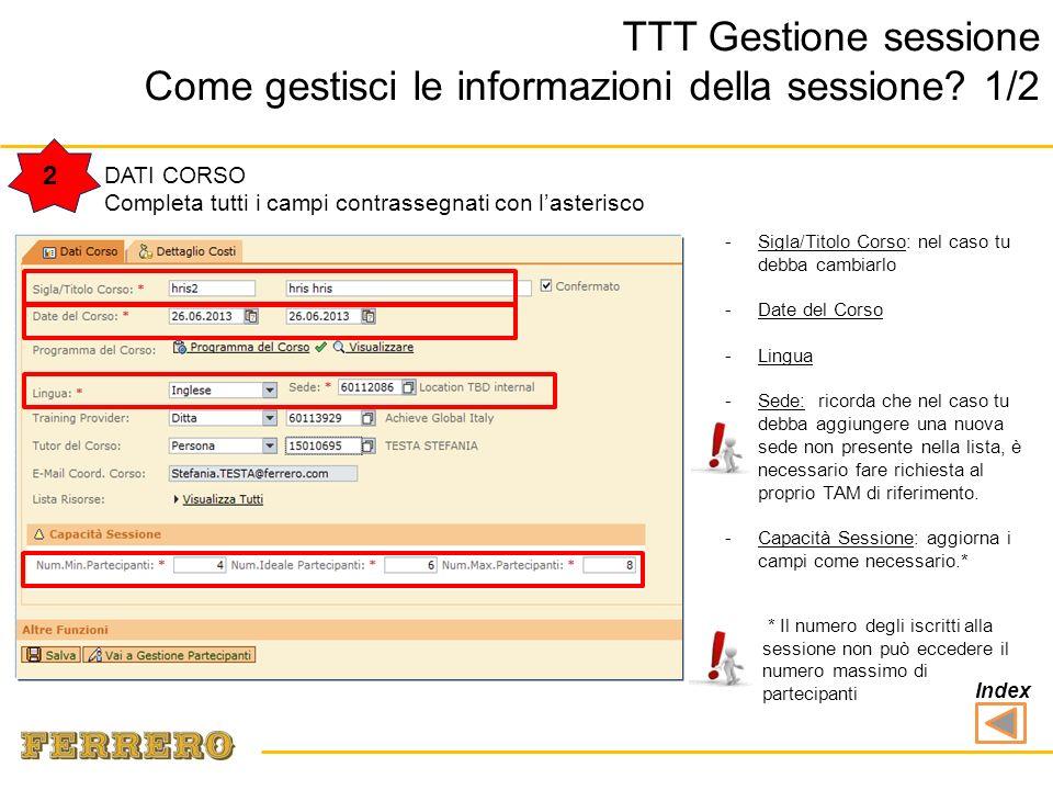 -Programma del Corso: è già stabilito alla creazione del Corso (Course type).