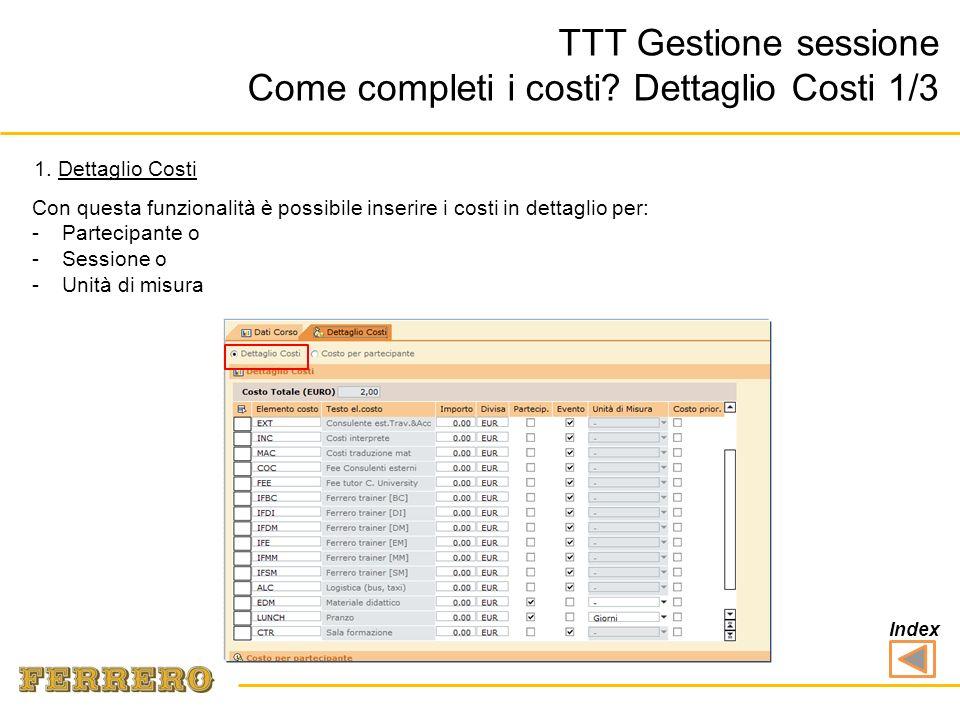 TTT Gestione sessione Come completi i costi? Dettaglio Costi 1/3 3 Con questa funzionalità è possibile inserire i costi in dettaglio per: -Partecipant