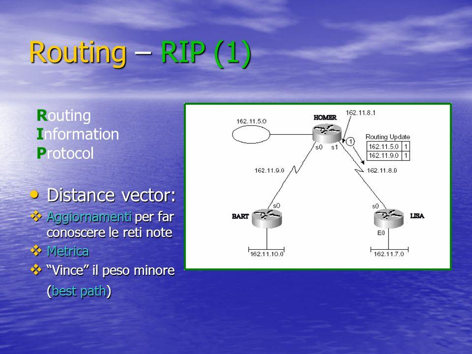 Routing – RIP (1) Distance vector: Distance vector: Aggiornamenti per far conoscere le reti note Aggiornamenti per far conoscere le reti note Metrica Metrica Vince il peso minore (best path) Vince il peso minore (best path) Routing Information Protocol