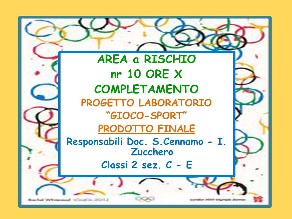AREA a RISCHIO nr 10 ORE X COMPLETAMENTO PROGETTO LABORATORIO GIOCO-SPORT PRODOTTO FINALE Responsabili Doc.