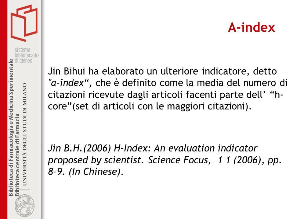 Biblioteca di Farmacologia e Medicina Sperimentale Biblioteca centrale di Farmacia A-index Jin Bihui ha elaborato un ulteriore indicatore, detto