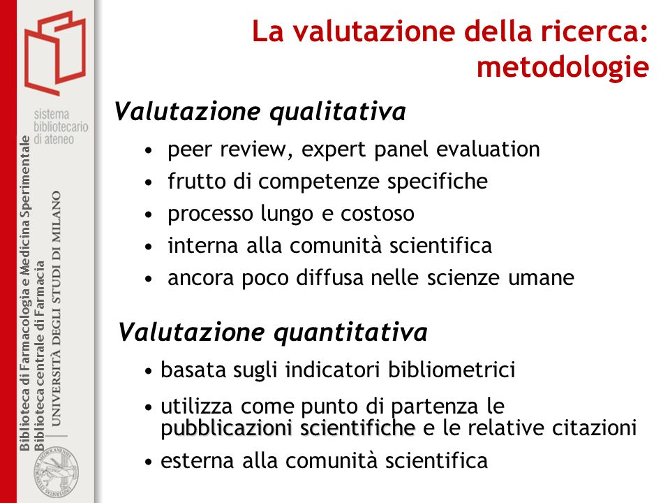 Biblioteca di Farmacologia e Medicina Sperimentale Biblioteca centrale di Farmacia La valutazione della ricerca: metodologie Valutazione qualitativa p