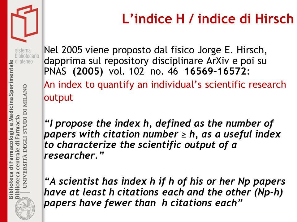 Biblioteca di Farmacologia e Medicina Sperimentale Biblioteca centrale di Farmacia Lindice H / indice di Hirsch Nel 2005 viene proposto dal fisico Jor