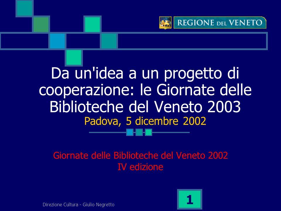 Direzione Cultura - Giulio Negretto 1 Da un idea a un progetto di cooperazione: le Giornate delle Biblioteche del Veneto 2003 Padova, 5 dicembre 2002 Giornate delle Biblioteche del Veneto 2002 IV edizione
