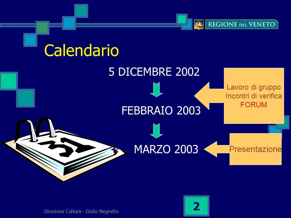 Direzione Cultura - Giulio Negretto 2 Calendario 5 DICEMBRE 2002 FEBBRAIO 2003 MARZO 2003 Lavoro di gruppo Incontri di verifica FORUM Presentazione