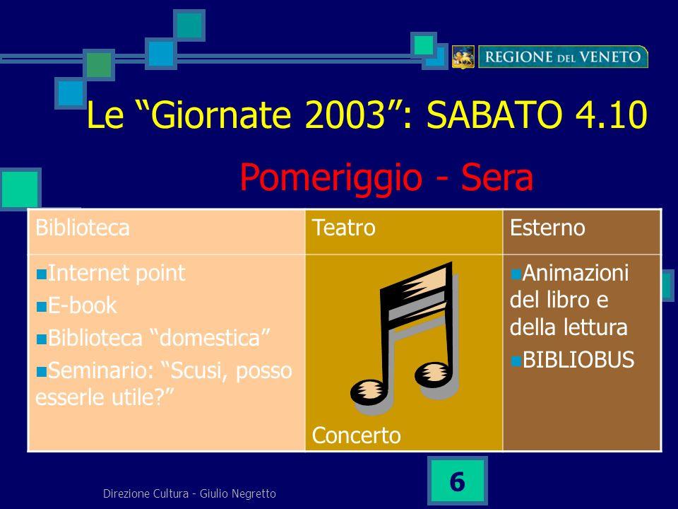 Direzione Cultura - Giulio Negretto 6 Le Giornate 2003: SABATO 4.10 BibliotecaTeatroEsterno Internet point E-book Biblioteca domestica Seminario: Scusi, posso esserle utile.