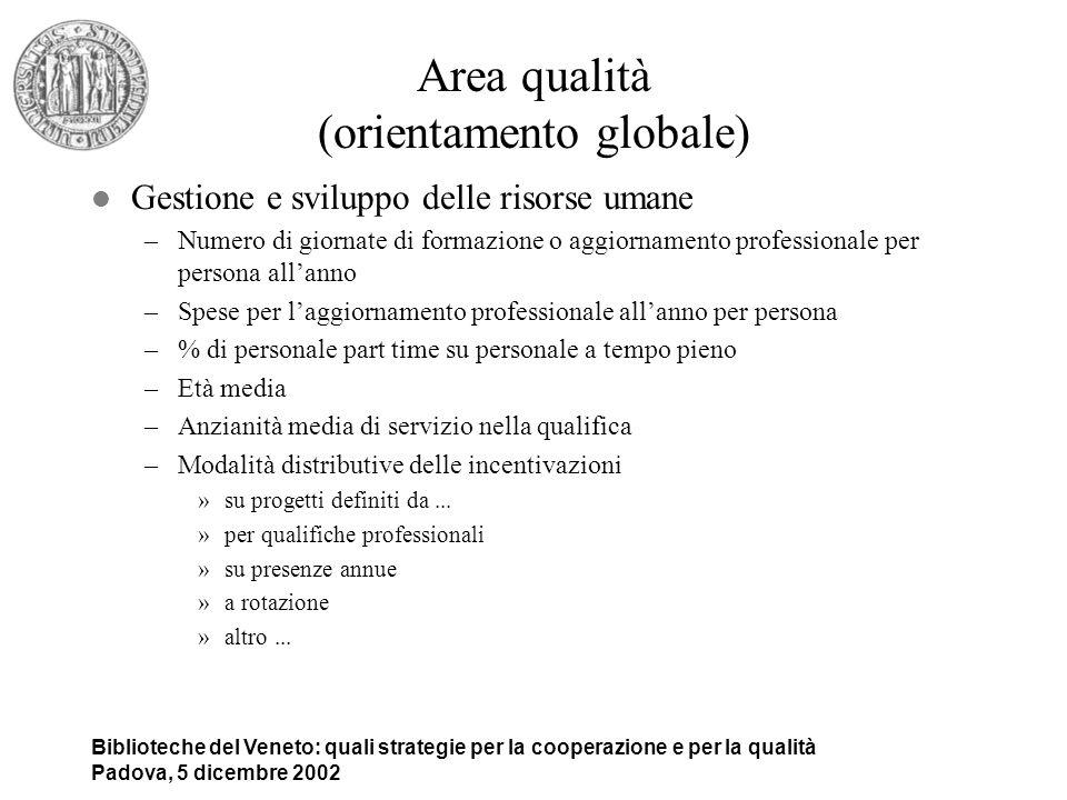 Biblioteche del Veneto: quali strategie per la cooperazione e per la qualità Padova, 5 dicembre 2002 Area qualità (orientamento globale) l Gestione e
