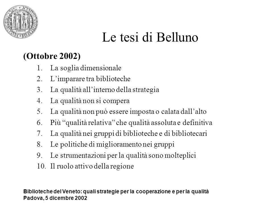 Biblioteche del Veneto: quali strategie per la cooperazione e per la qualità Padova, 5 dicembre 2002 Ricerca DSE – AIB Regione Veneto Innescare un processo virtuoso orientato al miglioramento della Qualità nelle biblioteche e nel sistema bibliotecario Veneto