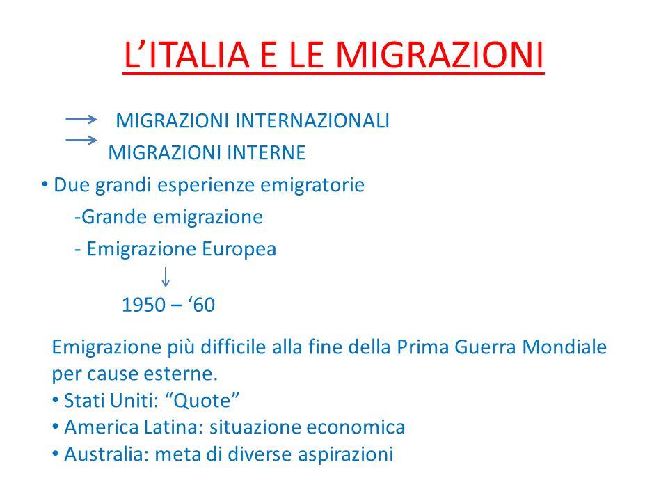 LITALIA E LE MIGRAZIONI MIGRAZIONI INTERNAZIONALI MIGRAZIONI INTERNE Due grandi esperienze emigratorie -Grande emigrazione - Emigrazione Europea 1950