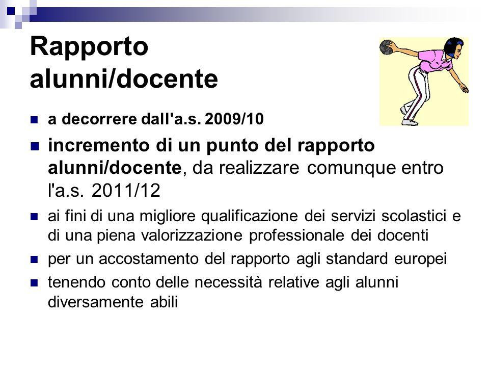 Rapporto alunni/docente a decorrere dall'a.s. 2009/10 incremento di un punto del rapporto alunni/docente, da realizzare comunque entro l'a.s. 2011/12