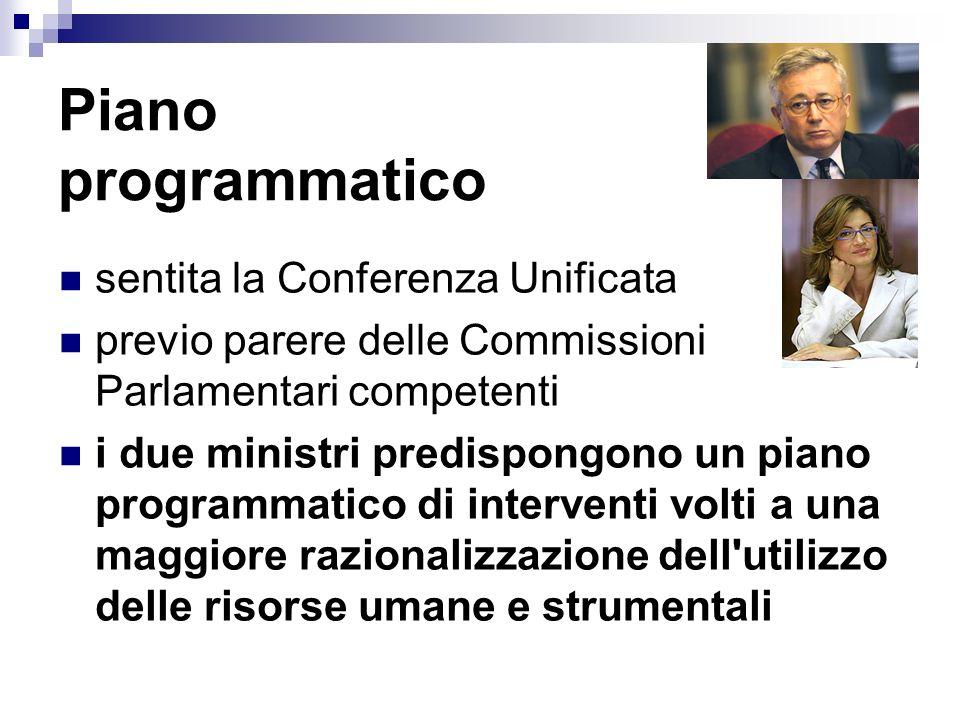 Piano programmatico sentita la Conferenza Unificata previo parere delle Commissioni Parlamentari competenti i due ministri predispongono un piano prog
