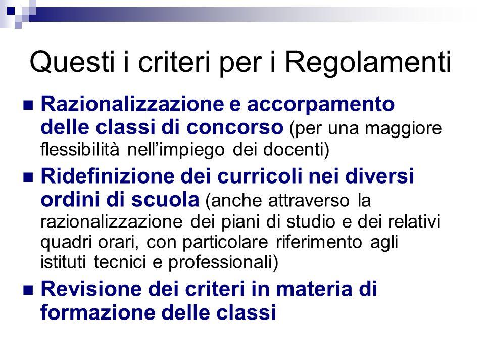 Questi i criteri per i Regolamenti Razionalizzazione e accorpamento delle classi di concorso (per una maggiore flessibilità nellimpiego dei docenti) R