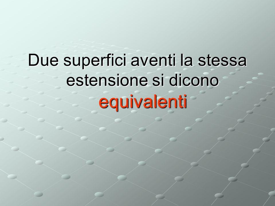 Due superfici aventi la stessa estensione si dicono equivalenti