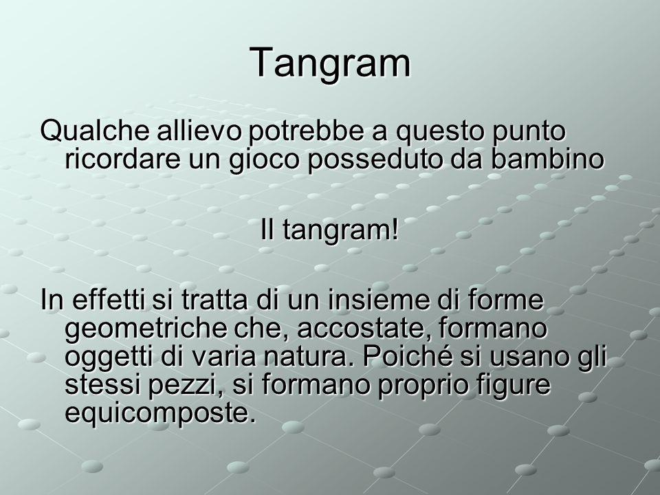 Tangram Qualche allievo potrebbe a questo punto ricordare un gioco posseduto da bambino Il tangram.