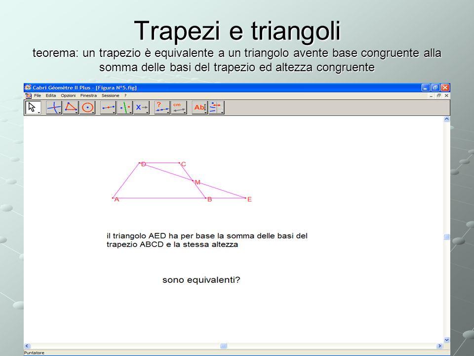 Trapezi e triangoli teorema: un trapezio è equivalente a un triangolo avente base congruente alla somma delle basi del trapezio ed altezza congruente
