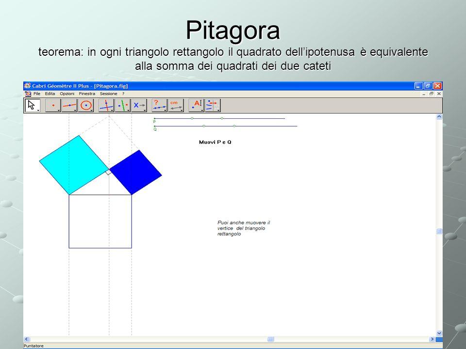 Pitagora teorema: in ogni triangolo rettangolo il quadrato dellipotenusa è equivalente alla somma dei quadrati dei due cateti