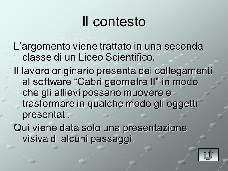 Il contesto Largomento viene trattato in una seconda classe di un Liceo Scientifico.
