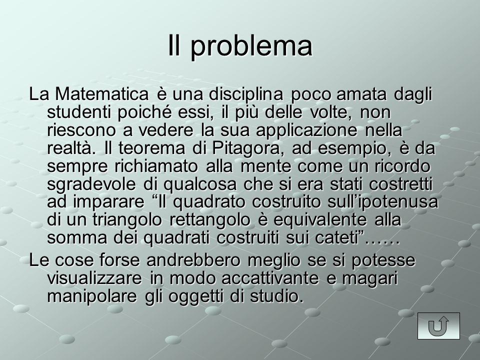 Il problema La Matematica è una disciplina poco amata dagli studenti poiché essi, il più delle volte, non riescono a vedere la sua applicazione nella realtà.