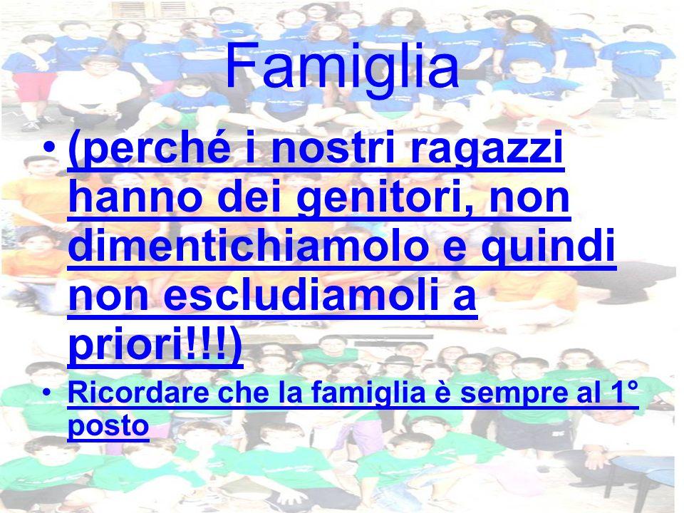 Famiglia (perché i nostri ragazzi hanno dei genitori, non dimentichiamolo e quindi non escludiamoli a priori!!!) Ricordare che la famiglia è sempre al