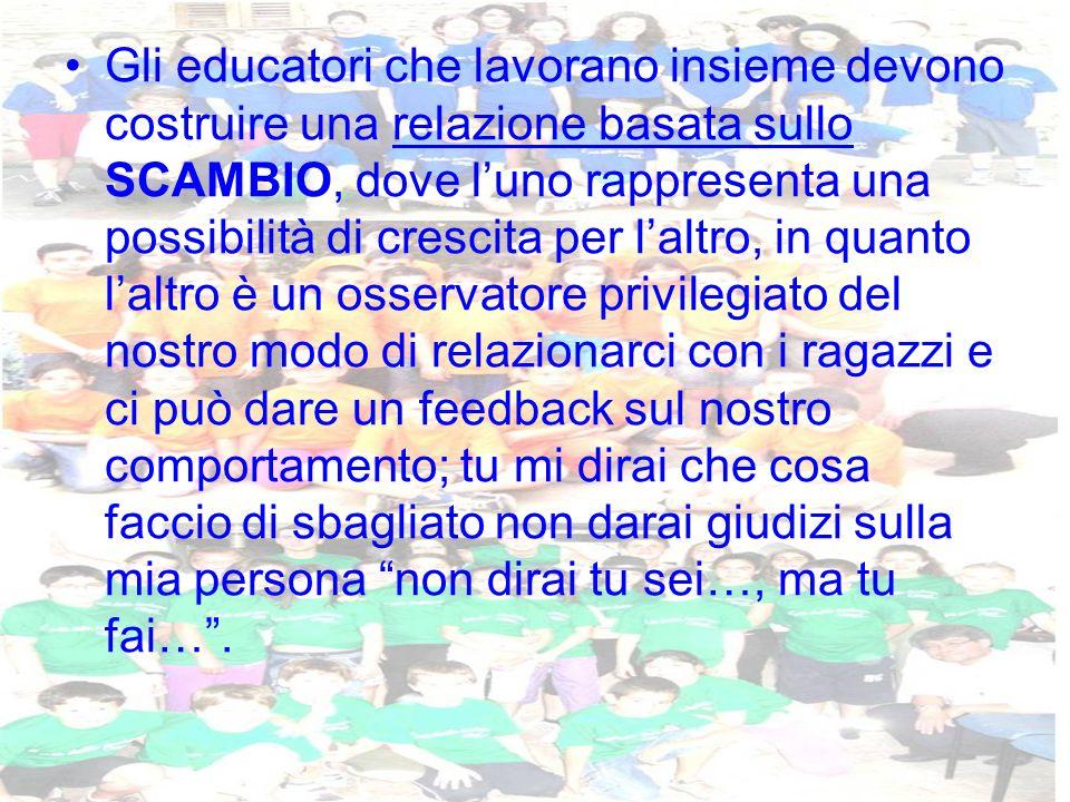 Gli educatori che lavorano insieme devono costruire una relazione basata sullo SCAMBIO, dove luno rappresenta una possibilità di crescita per laltro,