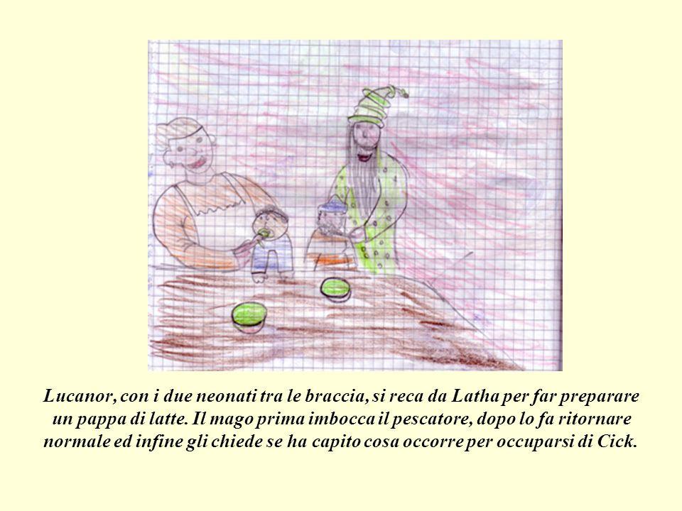Lucanor, con i due neonati tra le braccia, si reca da Latha per far preparare un pappa di latte.