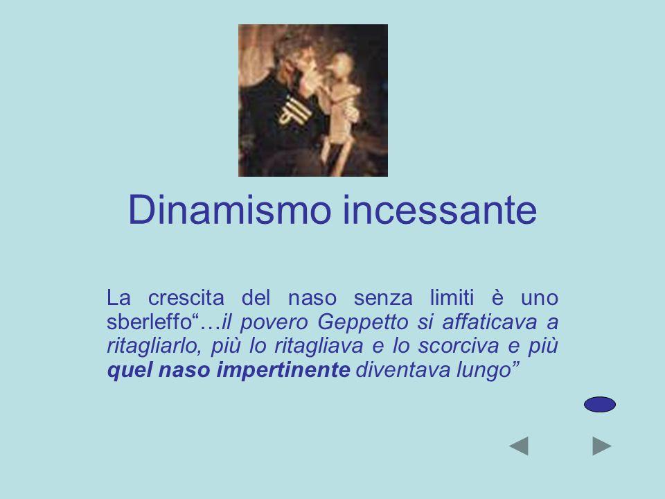 Dinamismo incessante La crescita del naso senza limiti è uno sberleffo…il povero Geppetto si affaticava a ritagliarlo, più lo ritagliava e lo scorciva