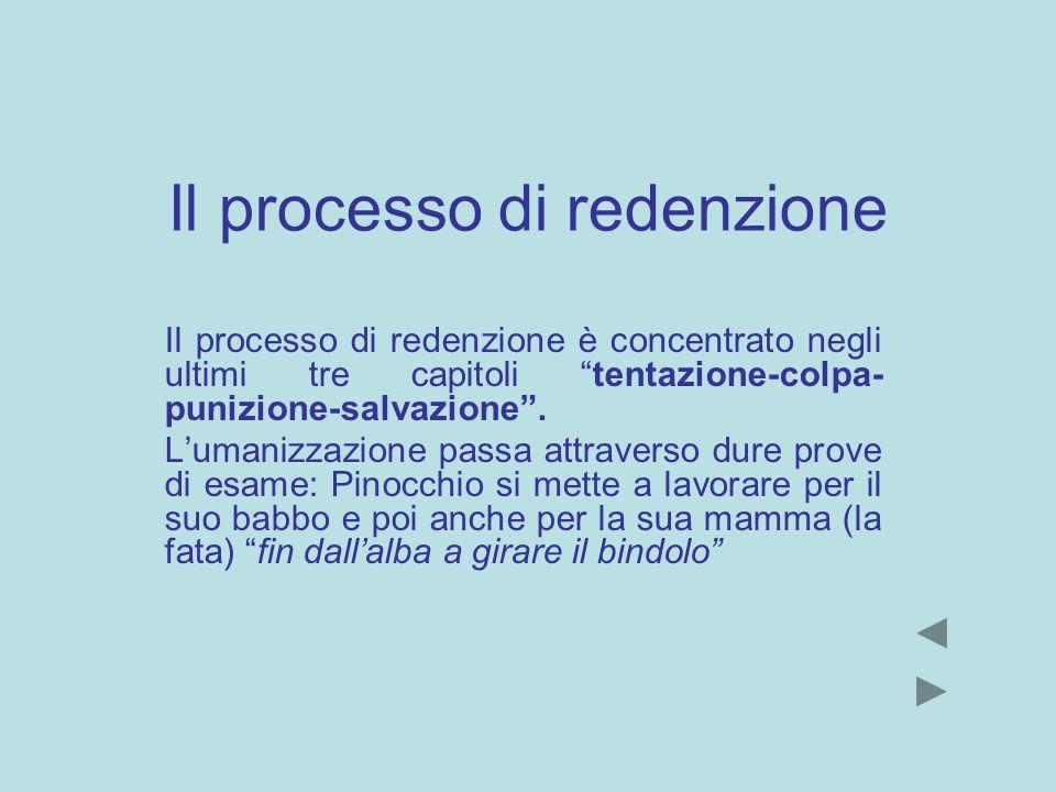 Il processo di redenzione Il processo di redenzione è concentrato negli ultimi tre capitoli tentazione-colpa- punizione-salvazione. Lumanizzazione pas