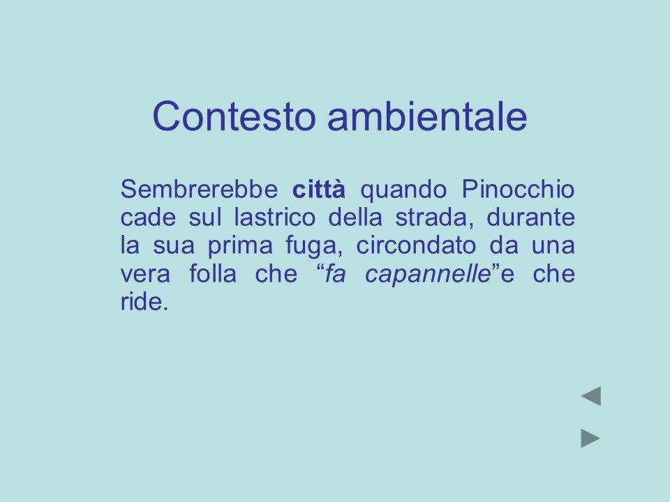 Contesto ambientale Sembrerebbe città quando Pinocchio cade sul lastrico della strada, durante la sua prima fuga, circondato da una vera folla che fa