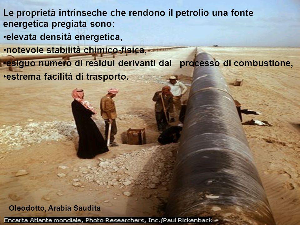 Le proprietà intrinseche che rendono il petrolio una fonte energetica pregiata sono: elevata densità energetica, notevole stabilità chimico-fisica, es